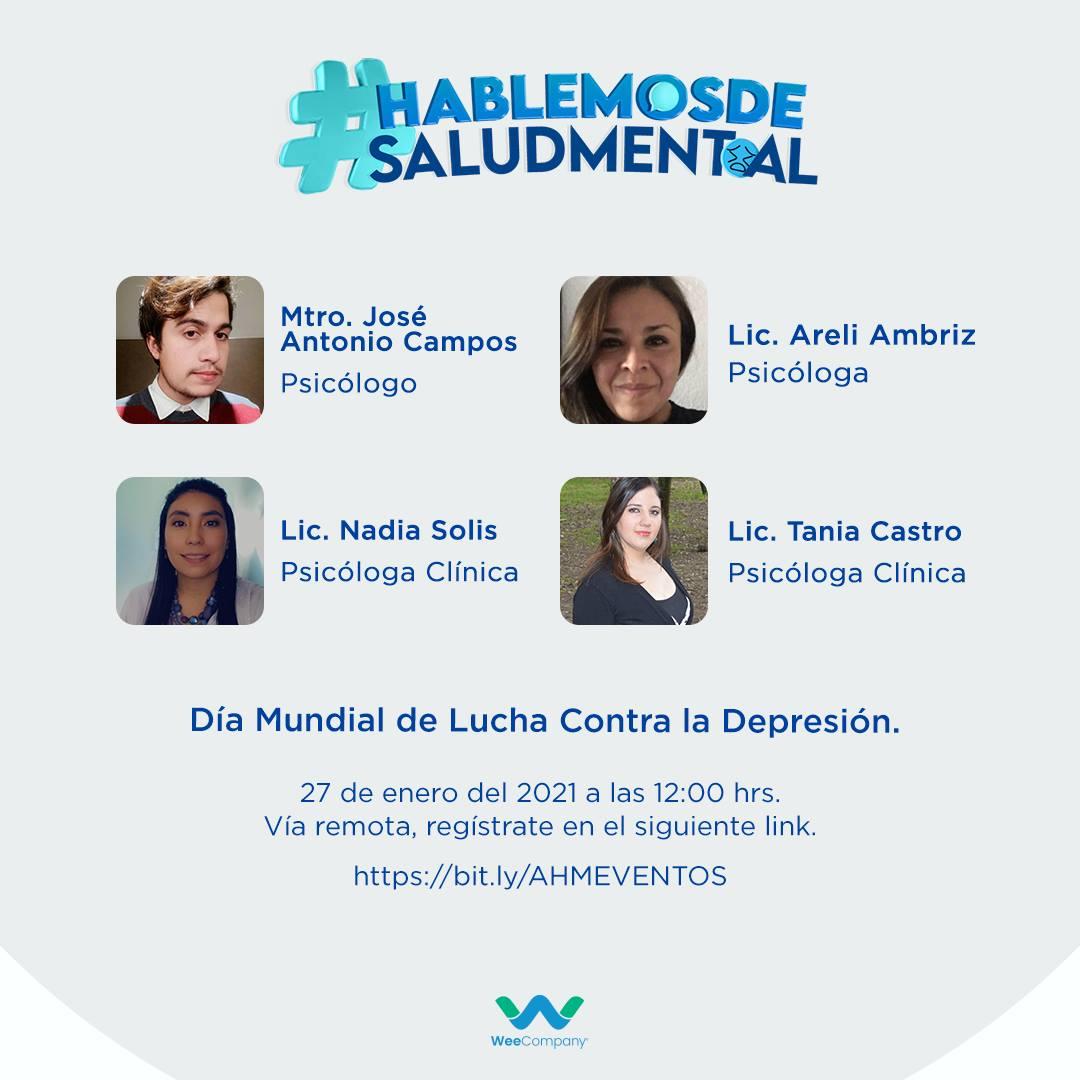 Te invitamos al #webinar #HablemosdeSaludMental, en el marco del Día Mundial de Lucha Contra la Depresión. Contaremos con 4 psicólogos puntos tácticos para que la sociedad tome conciencia sobre la importancia del apoyo profesional Regístrate aquí: https://t.co/LAWv72UL50 https://t.co/oEBeaRtOjJ