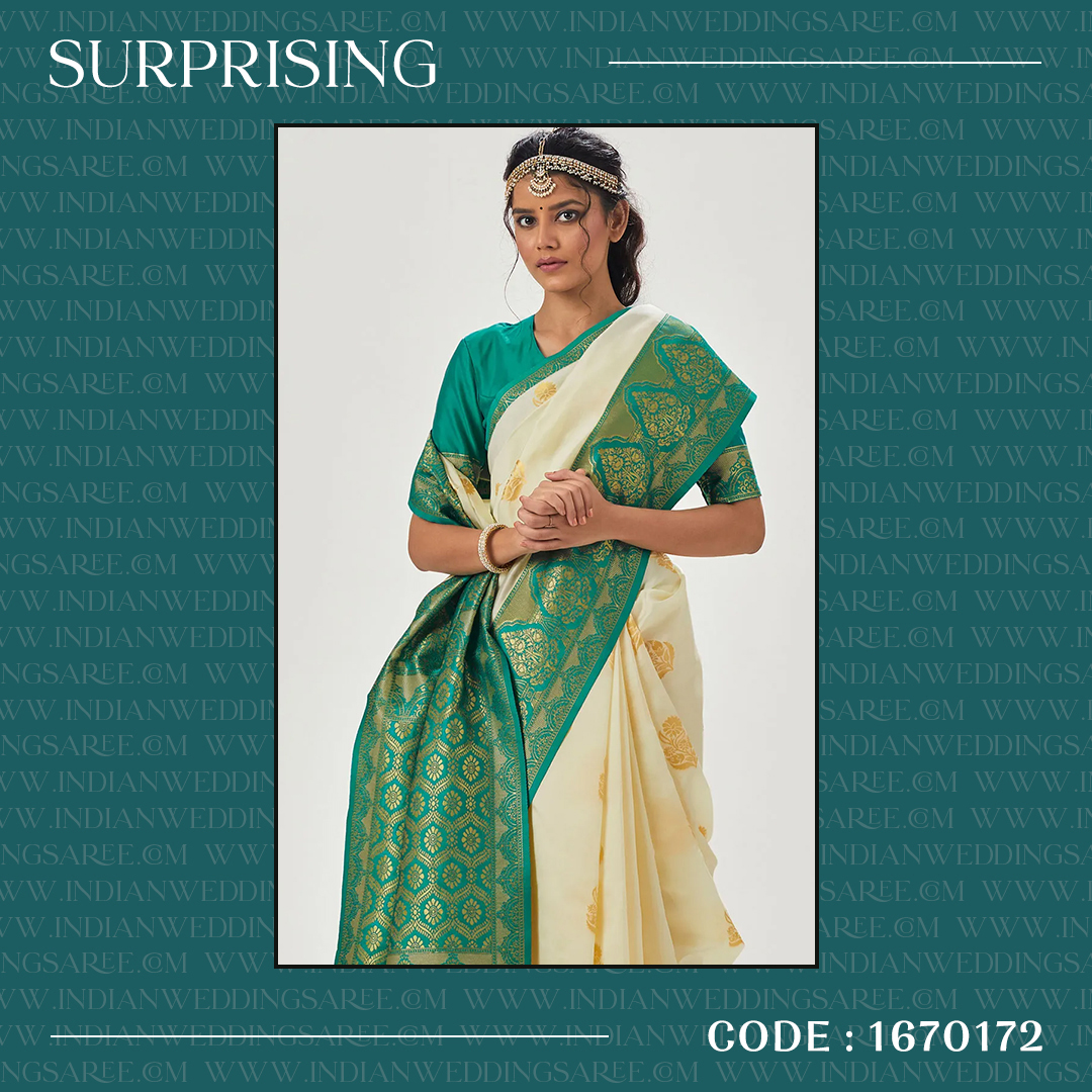 Traditional silk Saree in off-white combination with green blouse adorned with weaving work . . Price: US$ 43.80 . . Product Code: 1670172 . . #indianweddingsaree #silk #weddingdress #indiandress #womendress #bollywood #wedding #indianstyle #fashion #dresses #ethnicwear
