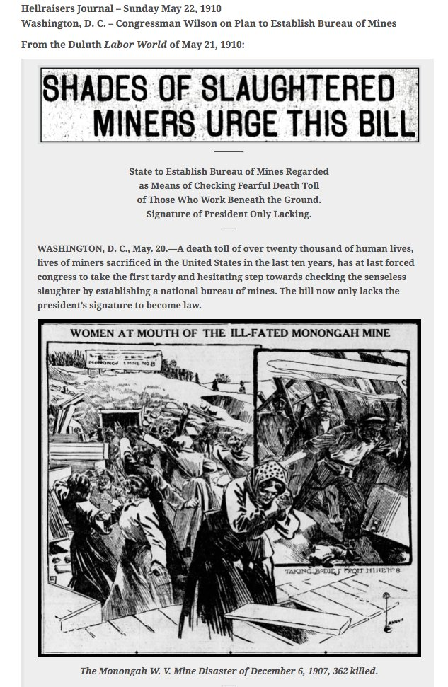 #RadicalLeftistAgenda Work Place Safety Hellraisers Journal: Slaughter of Miners Leads to Bill Establishing U. S. Bureau of Mines; Needs Presidents Signature