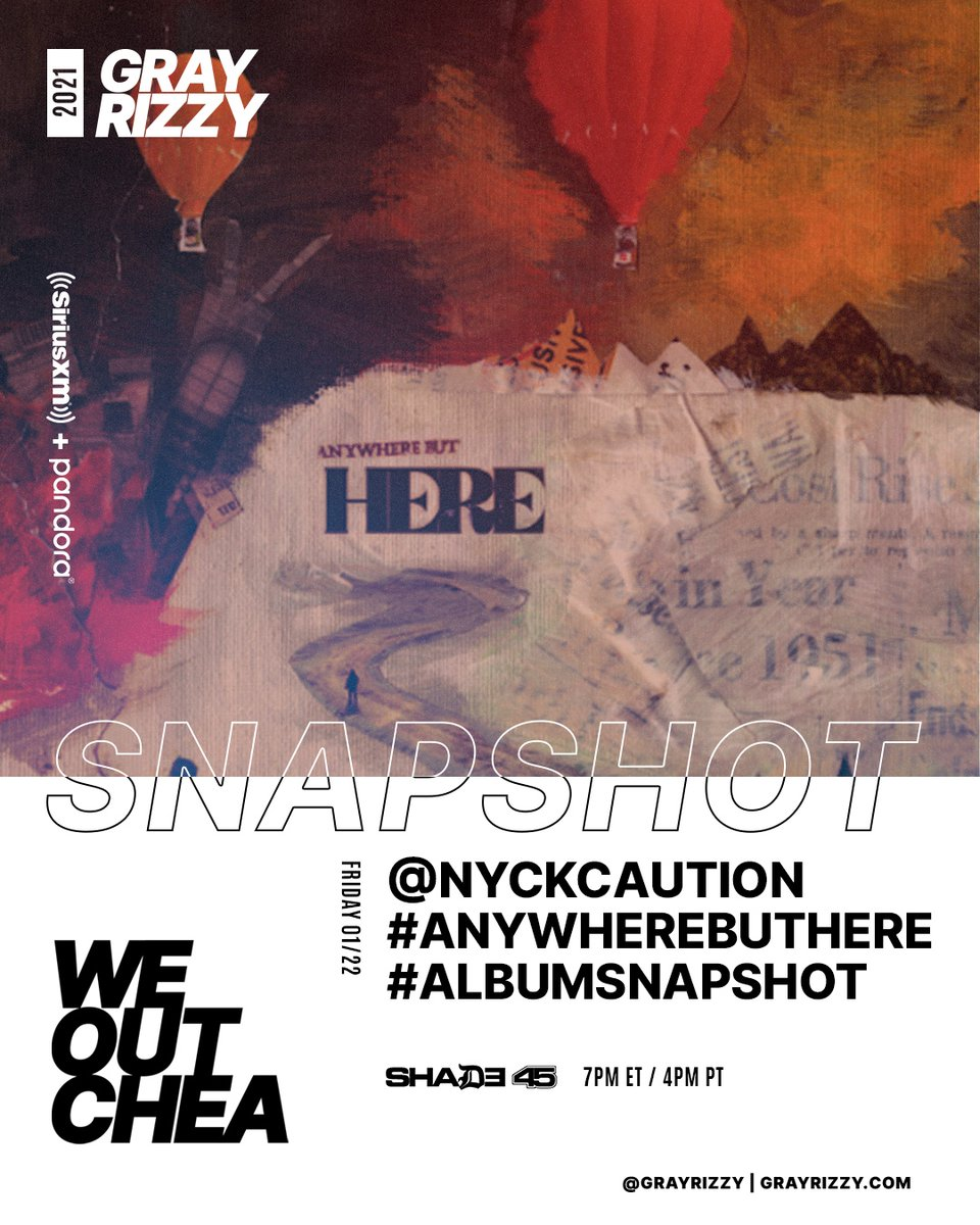 Looking forward to talking with @nyckcaution about his new album #AnywhereButHere TODAY for a #AlbumSnapShot on @shade45! Check out our special on @siriusxm Ch45 at 7p ET / 4p PT! #WEOUTCHEA