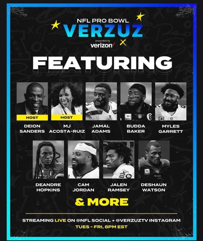 The NFL Pro Bowl Verzuz line-up has some serious star power. 🤩  Join @DeionSanders and I next week as Pro Bowl players face off in the ultimate highlight competition 🔥 Stay tuned, full schedule & match-ups coming Monday.  #NFLProBowlVerzuz | @verzuzonline