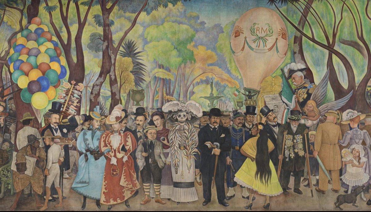 """El mural """"Sueño de una tarde dominical en la Alameda Central"""" representa una enorme cantidad de personajes emblemáticos de la historia y el arte nacional.  ¿Puedes reconocer dónde se encuentra José Guadalupe Posada? 🔎"""
