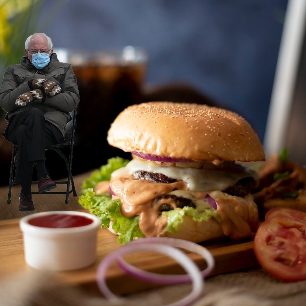 No better reason to take the mittens off and warm up after a cold day....that with a sizzling Irish steak burger....right Bernie? 😂🍔💯  #SitWithBernie #BernieSandersBurger #MittsOff #berniesmittens #Berniememes