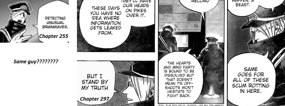 //#Spoilers #bnha297   Idk if anyone noticed this, but on a re-read, the guard from chap 255 is the same guard as in 197?????