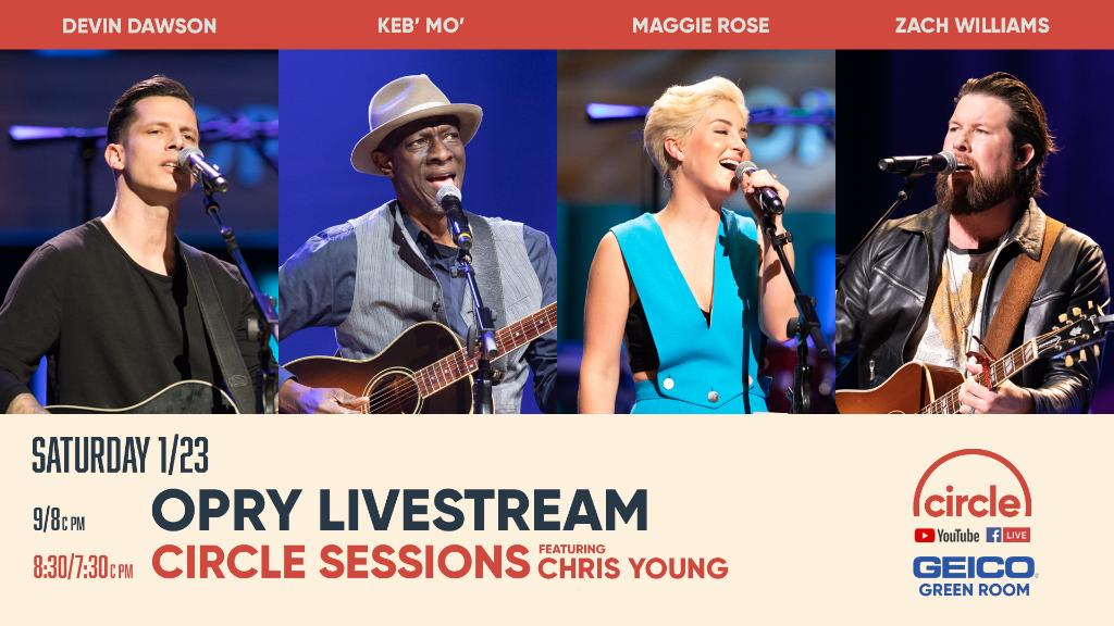 Tune in tomorrow to the Opry live on @circleallaccess!   We'll be welcoming @zdevin, @kebmomusic, @iammaggierose and @zachwilliams into the Circle!   Watch here: