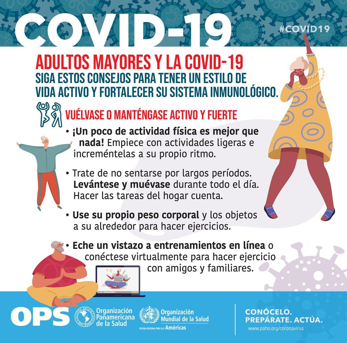 Replying to @OPSOMSMexico: 🧓👵 Adultos mayores y la #COVID19 ✅ Siga estos consejos 👇 para tener un estilo de vida activo 👍
