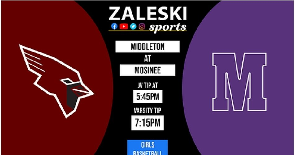 Our featured game of the night is Middleton vs Mosinee. WATCH LIVE Friday 545pm jv and 715pm varsity at    #zaleskisports #wisconsin #basketball  @MHSGirlsBall