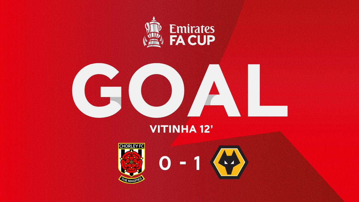 @chorleyfc @Wolves @Deliveroo We have our first goal of the #EmiratesFACup fourth round! ⚽️  Vitinha fires home an incredible strike to put @Wolves ahead 🤩