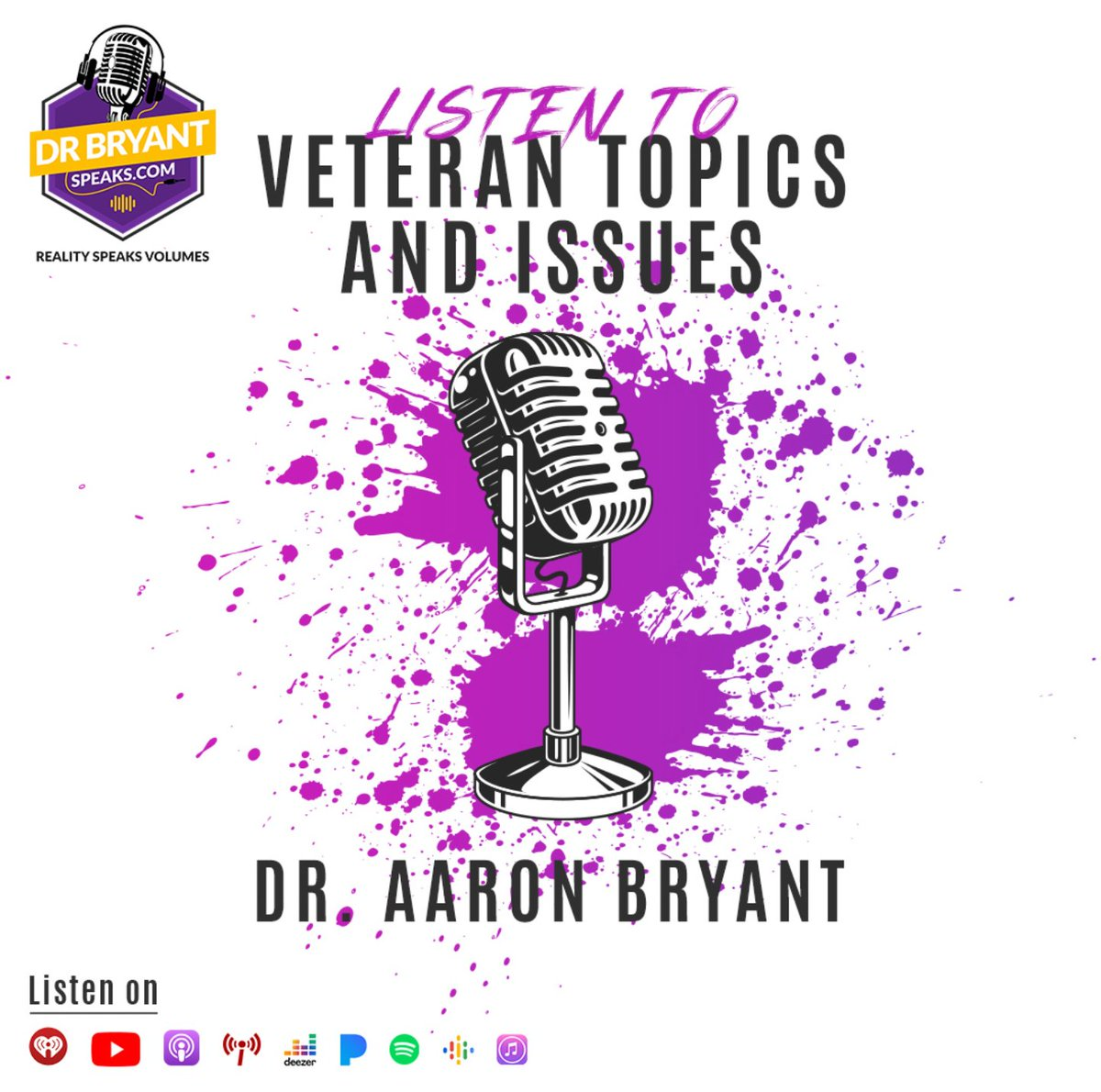 DrBryantSpeaks podcast sheds light on important topics and challenges facing America's veterans while also share the veteran's important issues. DrBryantSpeaks live podcast by Dr. Aaron Bryant Watch on YouTube.  #veteransday #veteranshelpingveterans