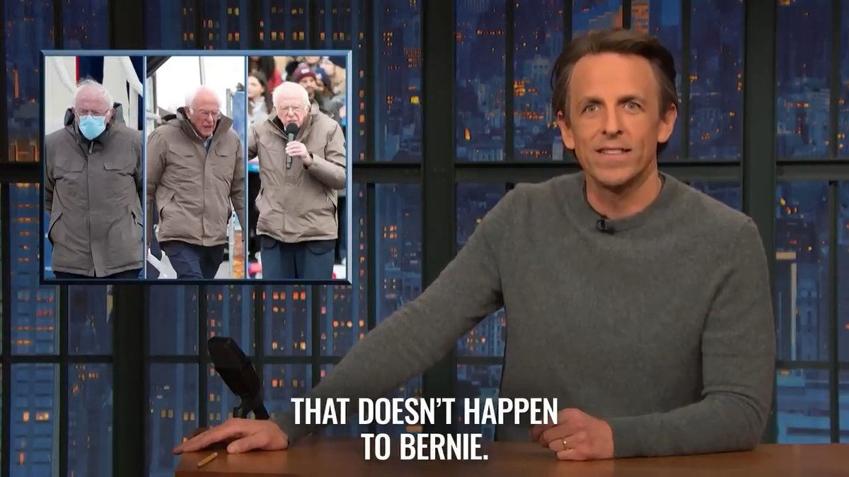 """Bernie has one coat that he wears from October to February. And if it's cold any other time of the year, he just does a lap around the Capitol."" – @SethMeyers"