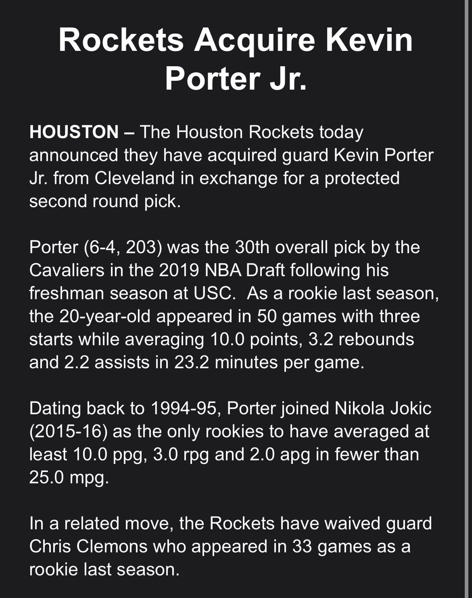The #Rockets make it official, acquiring Kevin Porter Jr. from the Cavaliers.   The team also announces that they have waived Chris Clemons.