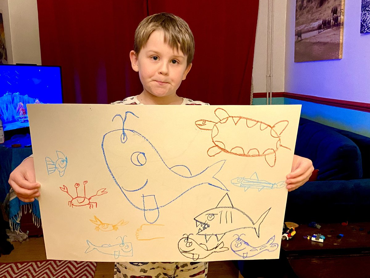 When your child just sits and draws... I like the crab! Apparently it's fiddler crab. There's a blue whale, humpback, sea turtle, blue fish, sardine, great white shark,decorator crab, orca whale and a sperm whale!!! #autism #AutismAwareness https://t.co/IqOj4hX3Rs