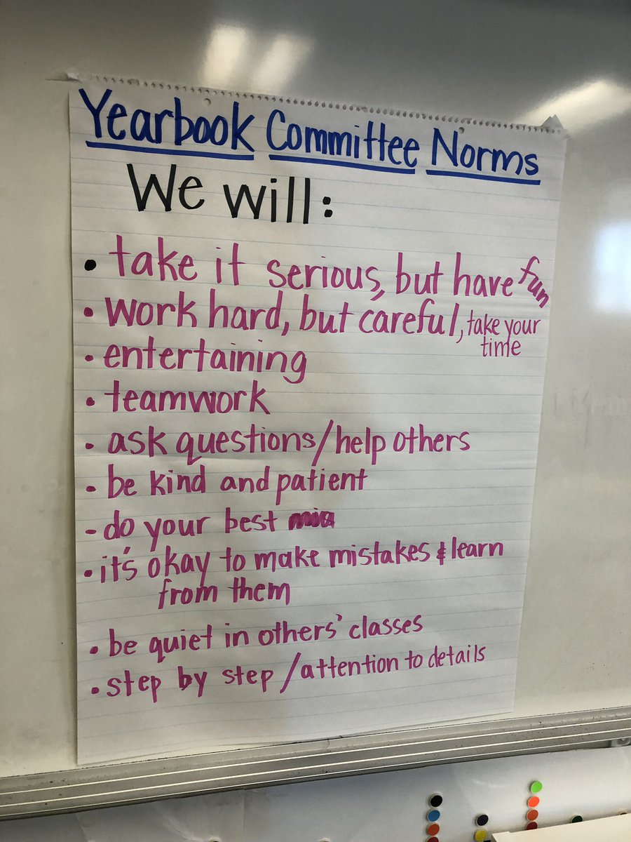 Coming up with our norms as we begin #reaganrays 1st ever yearbook committee. Starting late, but we're going to go hard in February! ❤️