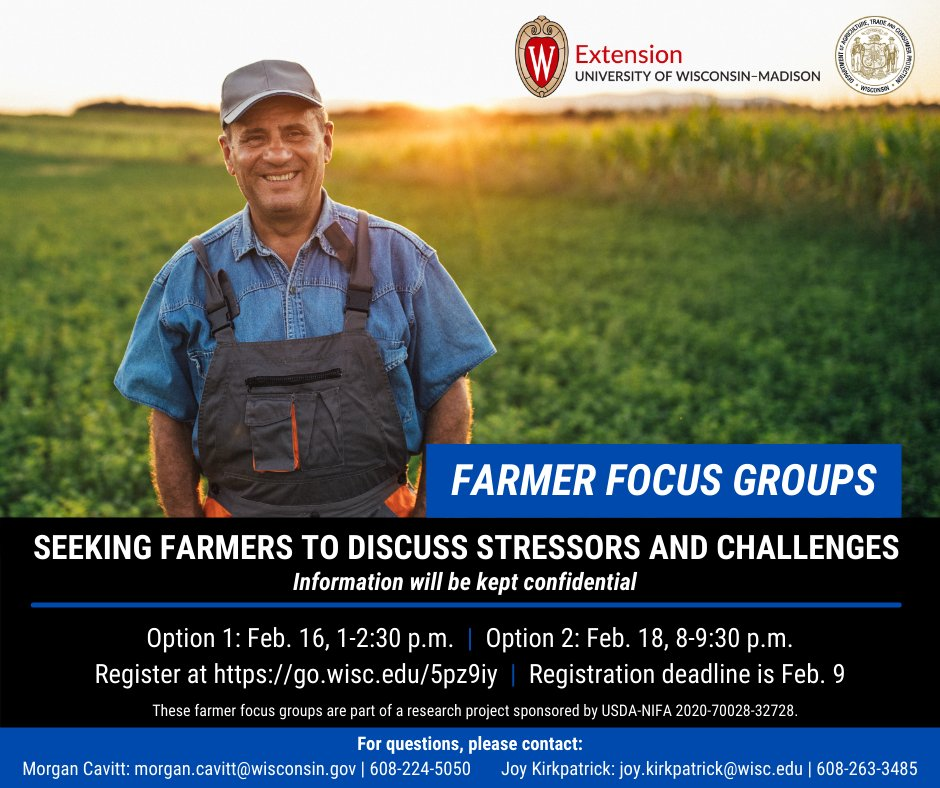 #Wisconsin DATCP's Farm Center is partnering on a focus group project to learn about farmers' and farm families' unique challenges and stressors.  Farmer can register by completing this online form:  by February 9.