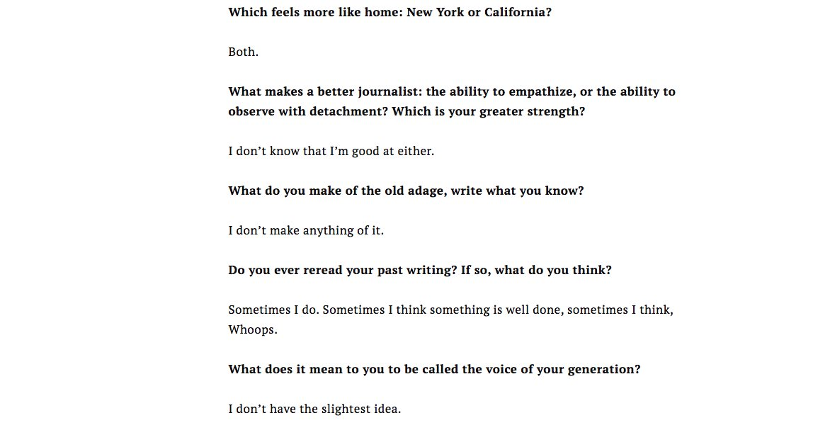 whoever made joan didion do this interview at gunpoint please release her
