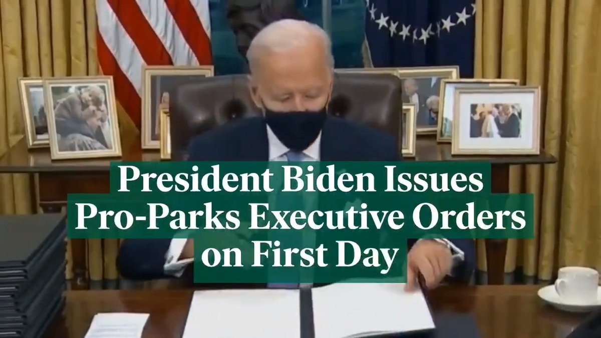 Biden's day-one actions had good news for parks: ✅ Masks & distancing on federal lands (e.g. national parks) ✅ Rejoin the #ParisAgreement ✅ Review any prior regulations harmful to environment ✅ Stop border wall construction ✅ Review boundaries of 3 national monuments [1/2]