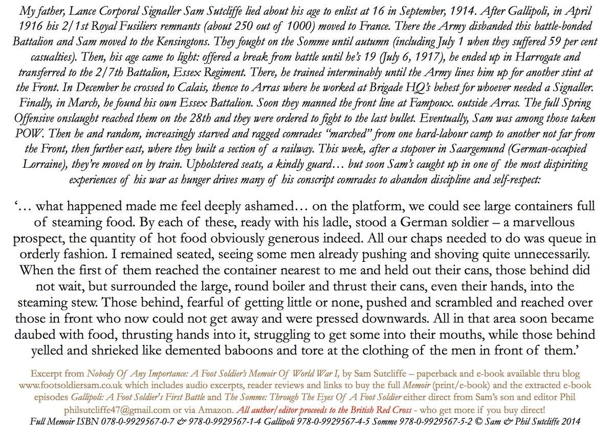 FSSam's kid-to-21 #WW1 Tommy Memoir or #Gallipoli Somme Arras '18 £1/1.50 battle+ excerpts… excerpt: Lorraine May '18, POW Sam, 19, sees fellow malnourished Brits in shameful food frenzy… P'back/e-bks  Blog/info  Profits: #RedCross