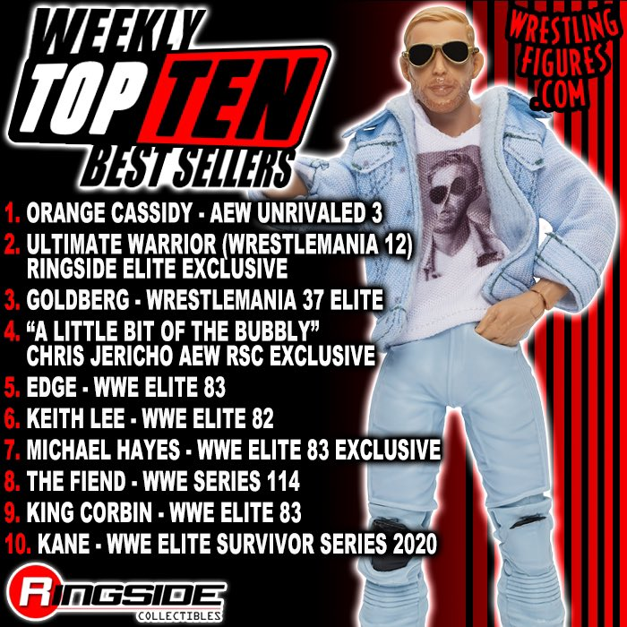 NEW Weekly #TopTen Best Sellers! #RSCWeeklyBestSellers 🍊🍊🍊  Check out the image to see what figures made the list this week  Shop #BestSellers at!  #RingsideCollectibles #WrestlingFigures #Mattel #WWE #AEW #AllEliteWrestling #AEWUnrivaled #OrangeCassidy