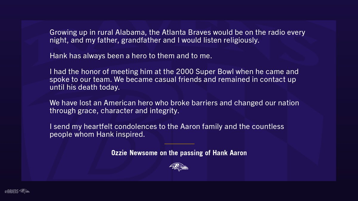 Ozzie Newsome on the passing of Hank Aaron: