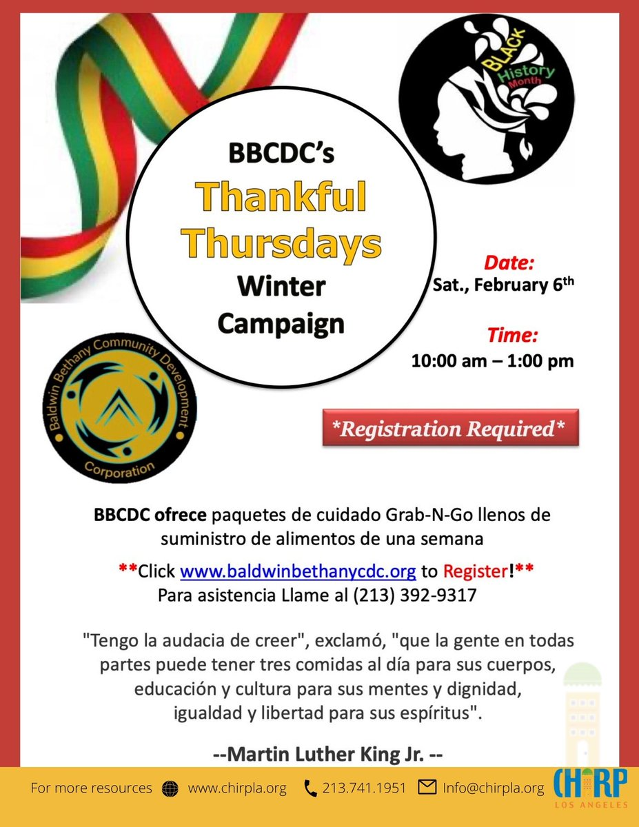 BBCDC Thankful Thursdays WINTER CAMPAIGN  Event will take place Saturday, February 6th, 2021.  Registration required. Register here:  #BBCDC #ThankfulThursday #Winter #Campaign #COVID19 #ChirpLosAngeles