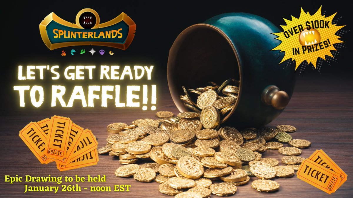 🚨Giveaway Alert!🚨  In 48 hours, 10 #Splinterlands players will each win 50 Raffle Tickets!!😮  Over $100,000 in total prizes🤑 1 lucky ticket will win a Region (valued at $15k)  ✅Like and RT ✅Tag 2 friends ✅Comment your Splinterlands name!    🧙♂️GO!🏁