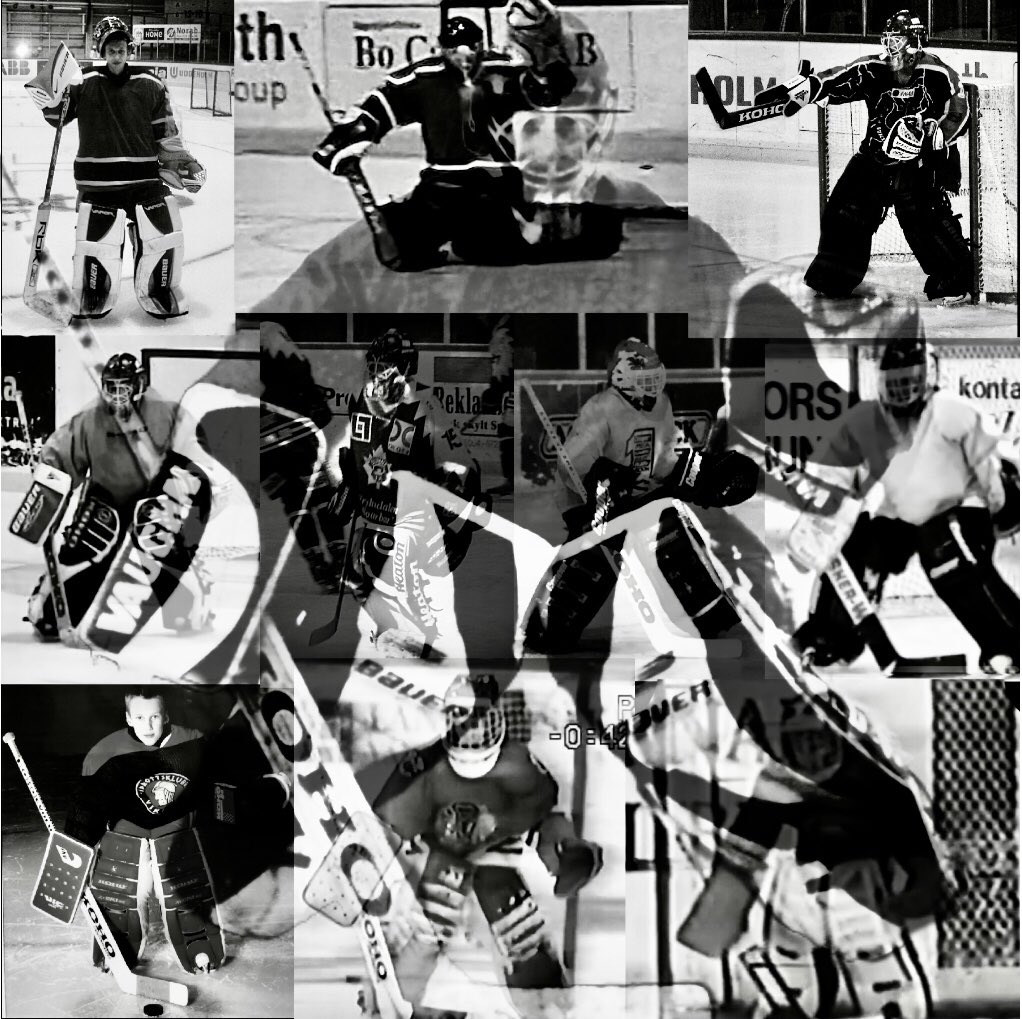 I just love hockey, and being a goalie, despite I had to retire at just the age of 25. This is all me in different ages. Bottom right I'm 8, top left 25. In the middle is today 37y making a comeback ❤️ don't know what the universe will take me. #dreams #hockey #goalie #vikinghc