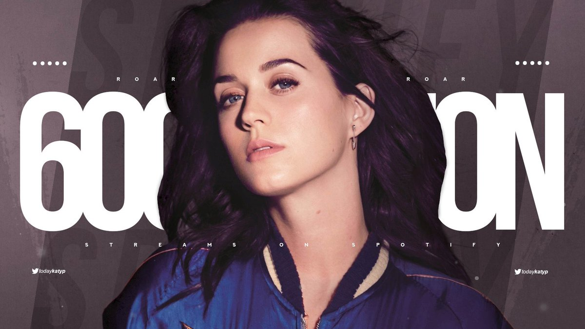 """""""Roar"""" has surpassed 600 MILLION streams on Spotify.  — It's @katyperry's 3rd song to achieve this."""