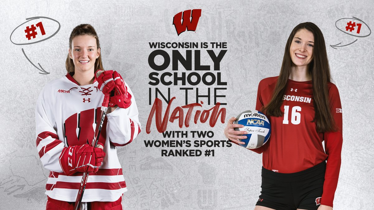 1⃣: @BadgerWHockey  1⃣: @BadgerVB   ...and the only 1⃣ in the country to do it  #OnWisconsin