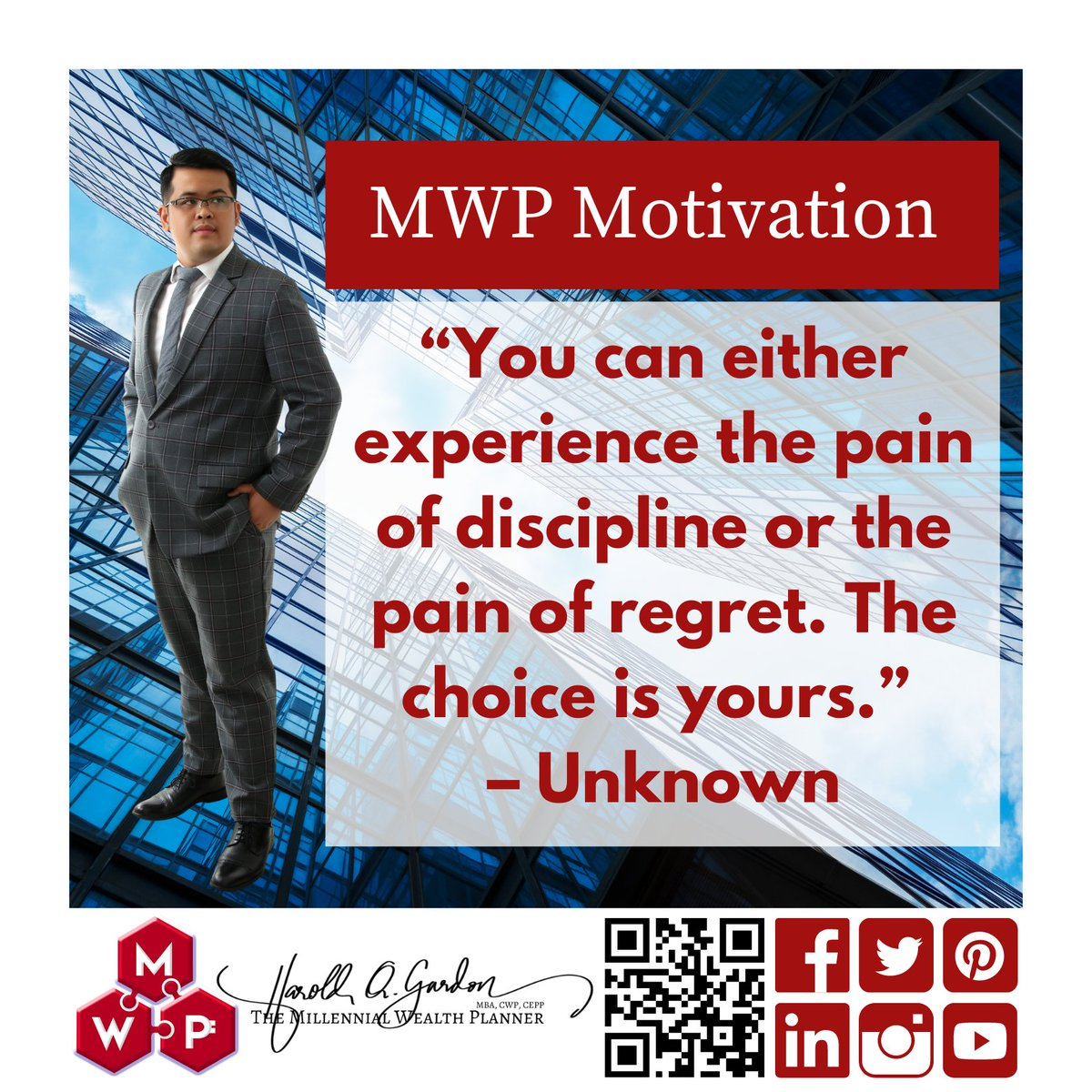 Happy Weekend! . What will you choose? . For me, I will always choose the pain of discipline. . #millennialwealthplanner #mwp #mwpMotivation #motivation #inspiration #workwithpurpose #purpose #passion #dreams #significance #fighting #millennial