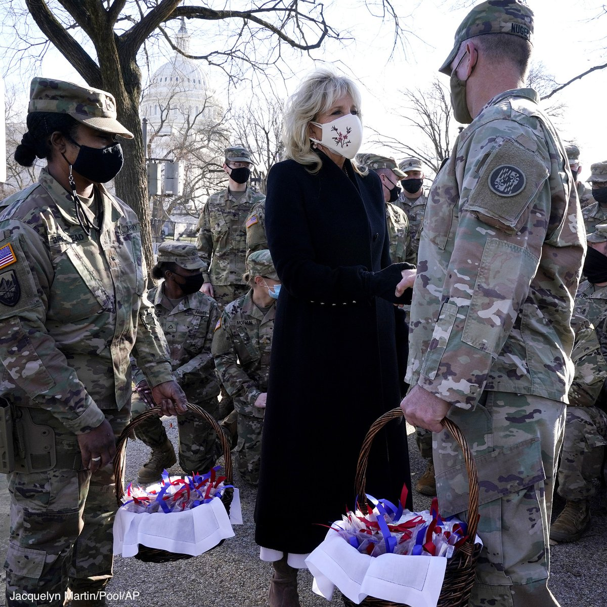 First Lady Jill Biden made a surprise visit to National Guard members outside the Capitol to deliver cookies.