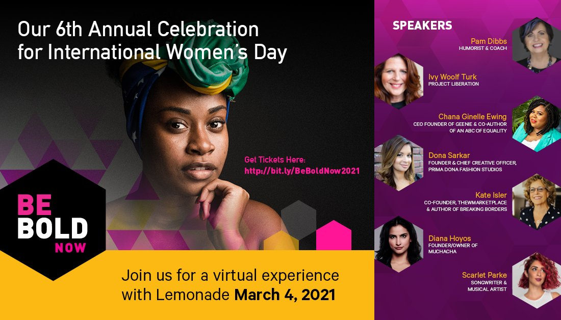 Tickets 🎫 are LIVE!!! Get yours today and mark your calendars for March 4, beginning at 6 PM PT. We are teaming up with Lemonade to bring you an unforgettable virtual experience on an interactive platform.   #GenderParity #IWD #InternationalWomensDay