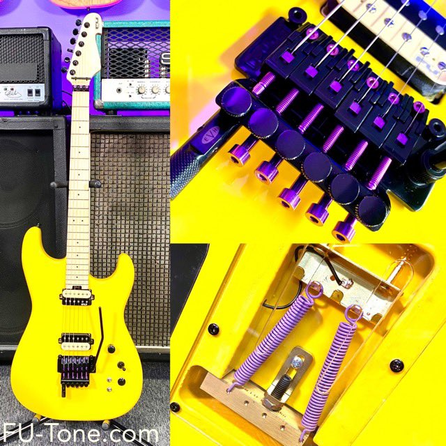 FU PRO Guitar with Purple Titanium Hardware and Saddle Inserts Upgrade on its way to her forever home! Yes - We customize on request! #futone #guitar #shredguitar #evh #dtuna #superstrat #guitarplayer #guitarworld