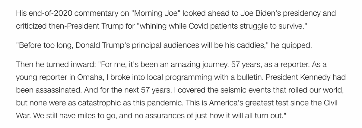 """From Tom Brokaw's end-of-2020 essay: The pandemic """"is America's greatest test since the Civil War. We still have miles to go, and no assurances of just how it will all turn out."""""""