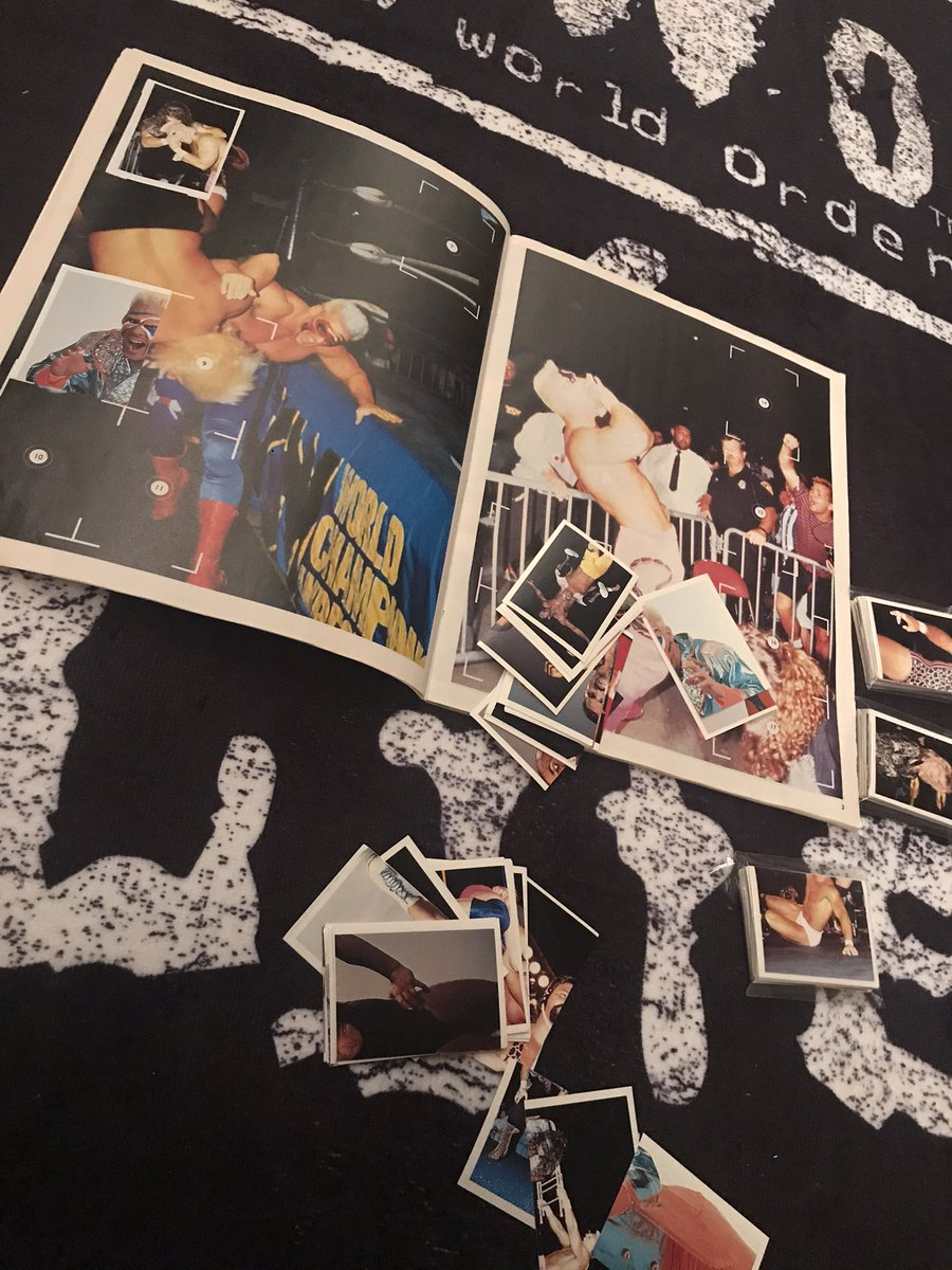 Sat sticking my #wcw #wrestling stickers in my sticker book. I feel like im 10 years old all over again.