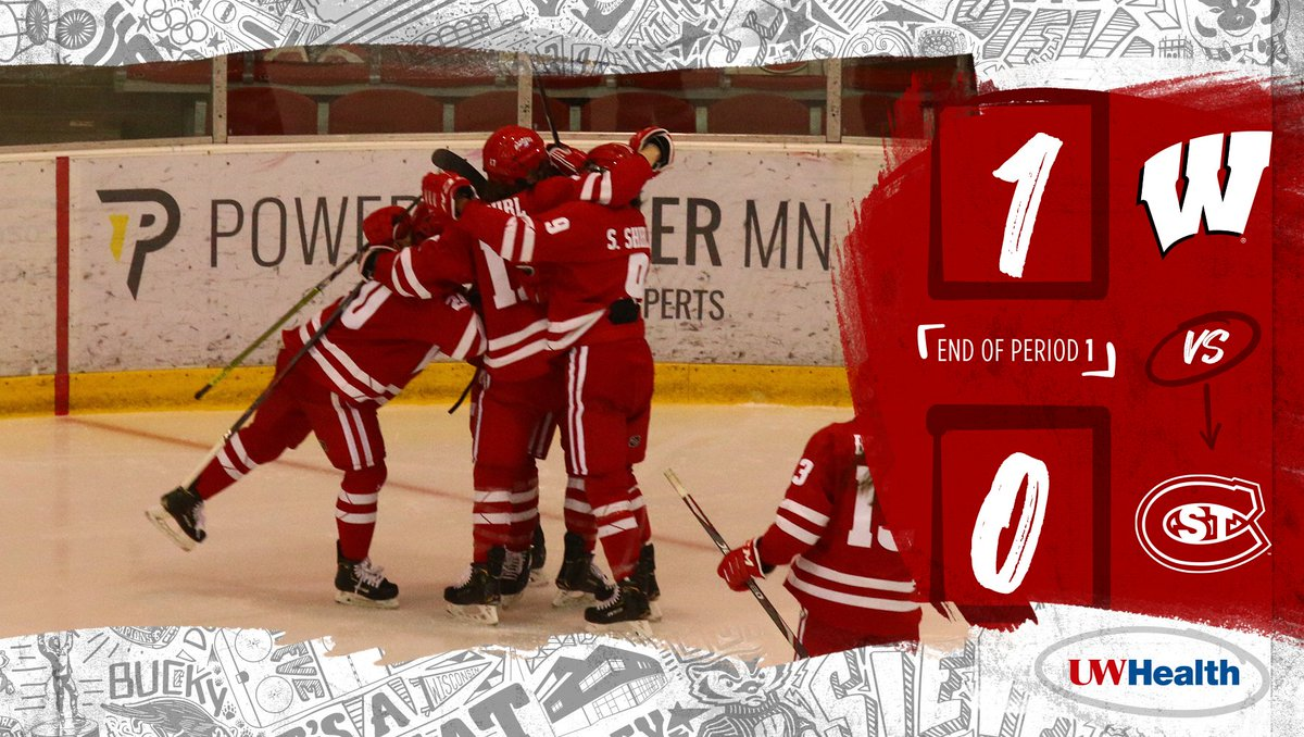 First period is in the 📚  The #Badgers are up on the Huskies in St. Cloud!!!  #OnWisconsin || #UWHealth
