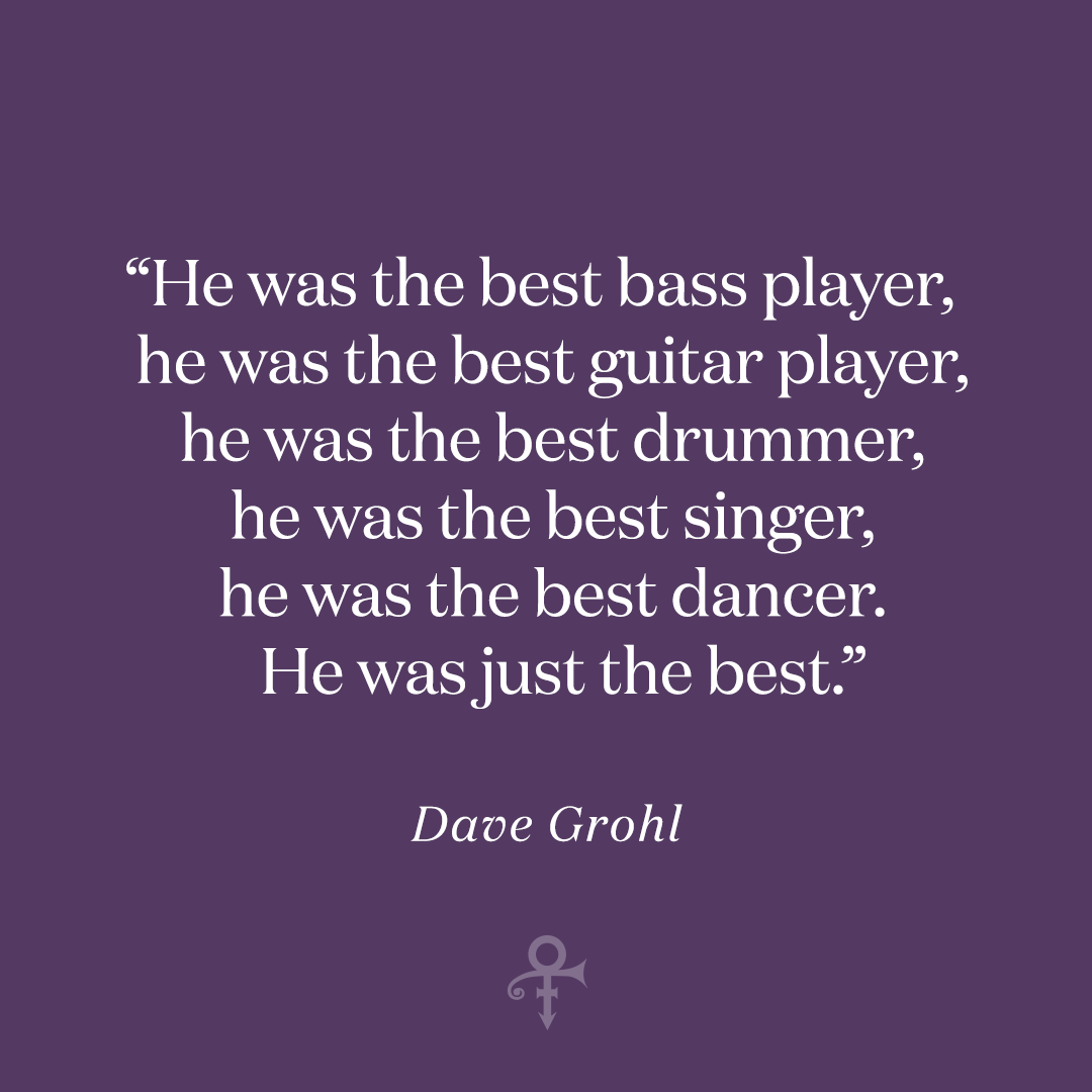 """Last year, while getting ready to perform """"Darling Nikki"""" with the @foofighters at """"Let's Go Crazy: The GRAMMYs Salute to Prince,"""" Dave Grohl took time to reflect on his love for Prince. """"He was just the best,"""" he said."""