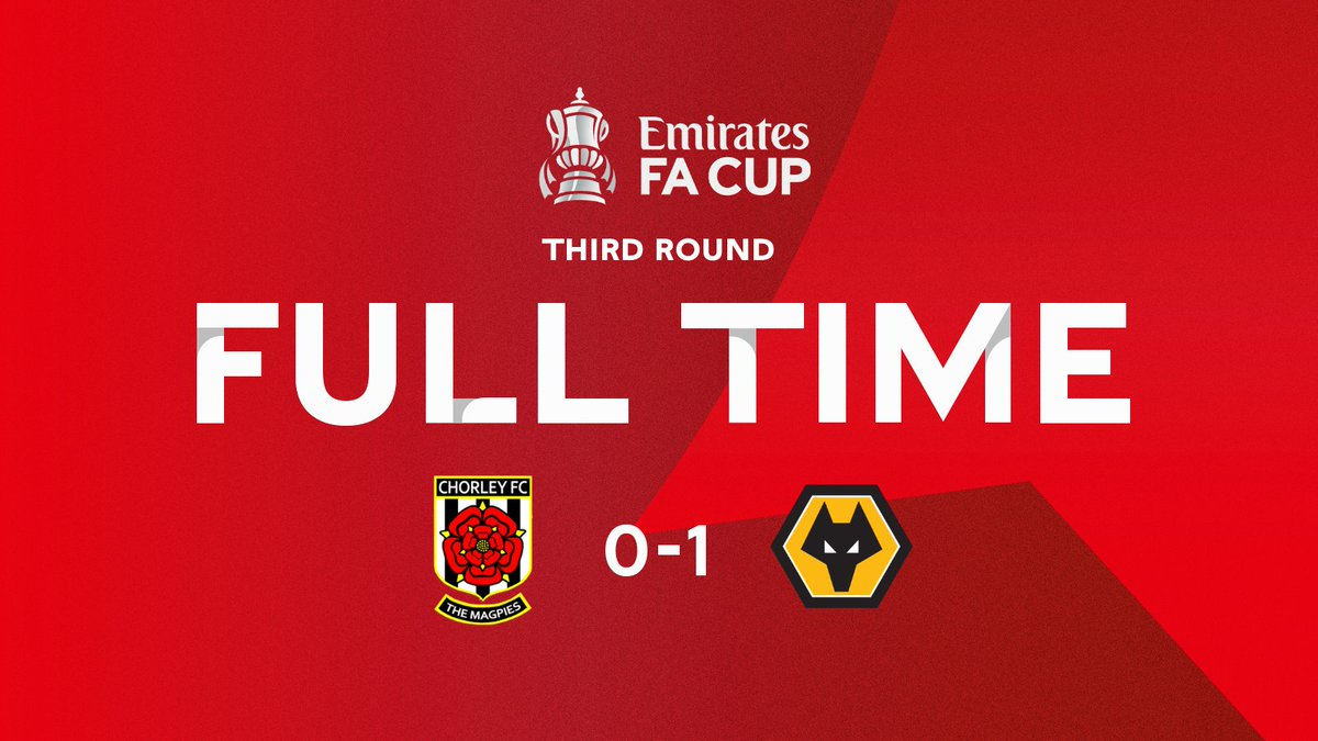 @chorleyfc @Wolves @Deliveroo ⏱ FULL TIME ⏱  A moment of magic by Vitinha was enough to send @Wolves into the #EmiratesFACup fifth round!