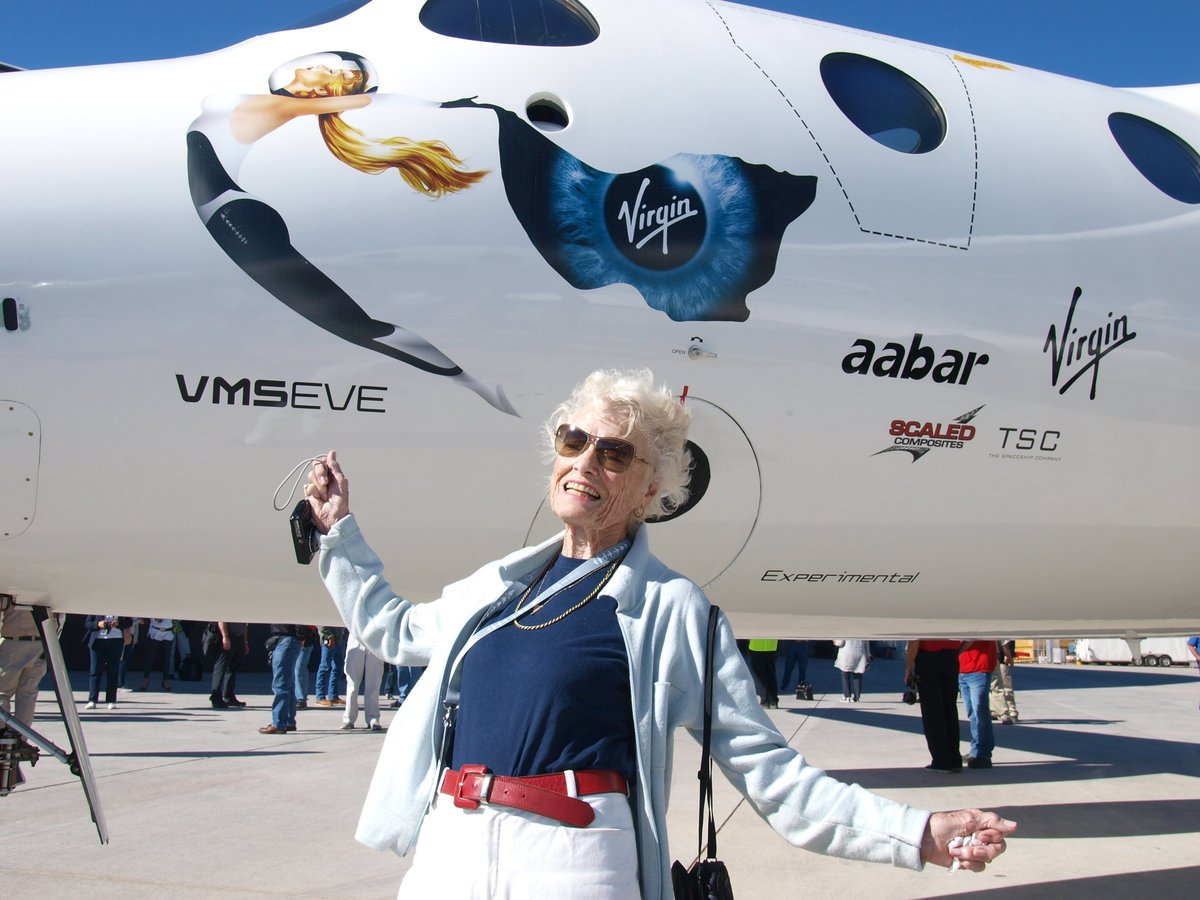 """VMS Eve is named after Richard Branson's mother, Eve, who sadly passed away this month. Eve was always cheering us on and will be immortalized through our beautiful carrier aircraft. As Richard said: """"There's no way you can have a mothership and not name it after your mother!"""""""