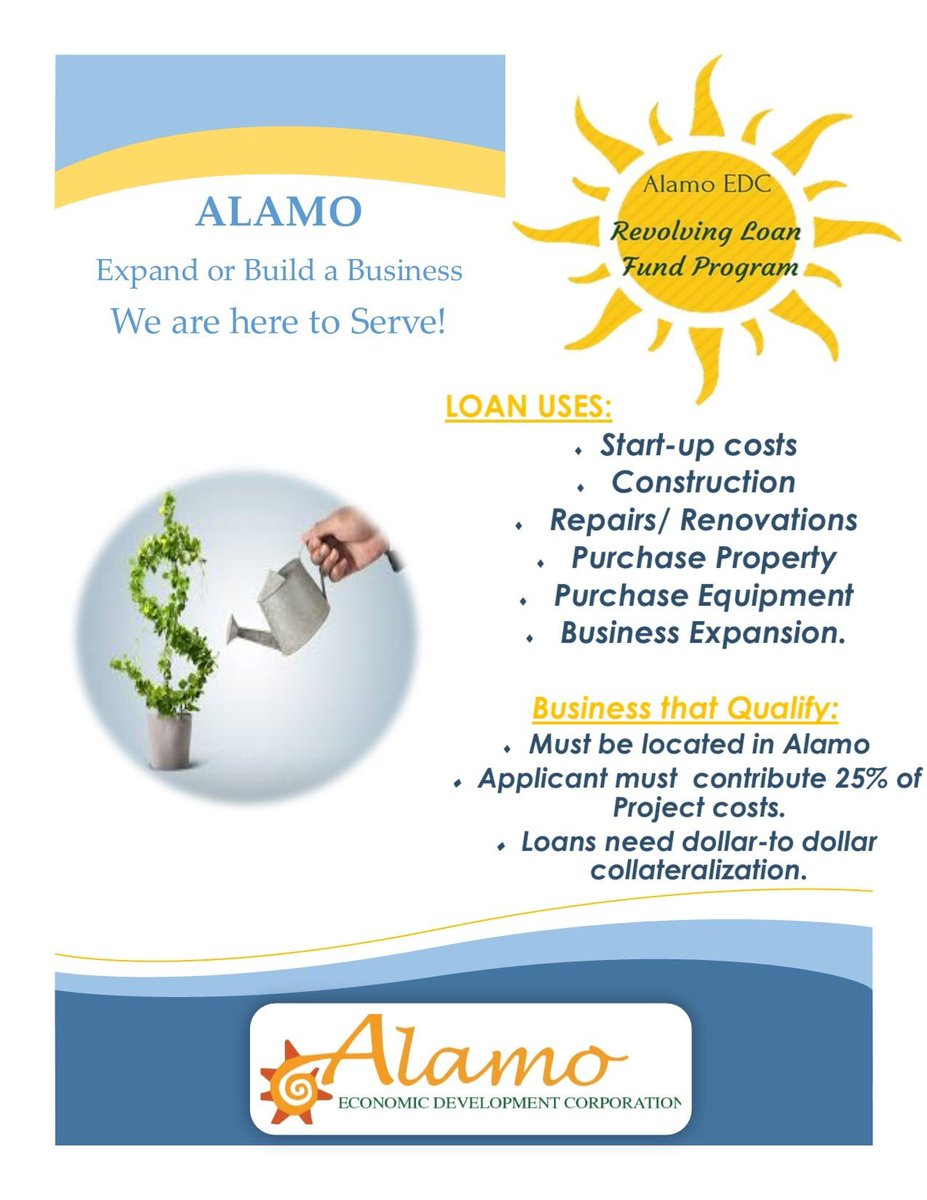 Whether you are opening or expanding your business, Alamo EDC can help with financial assistance. Contact our office today! (956)787-6622.  #Alamo #AlamoEDC #SmallBusiness #Startup #Entrepreneurs #Repairs #Renovations