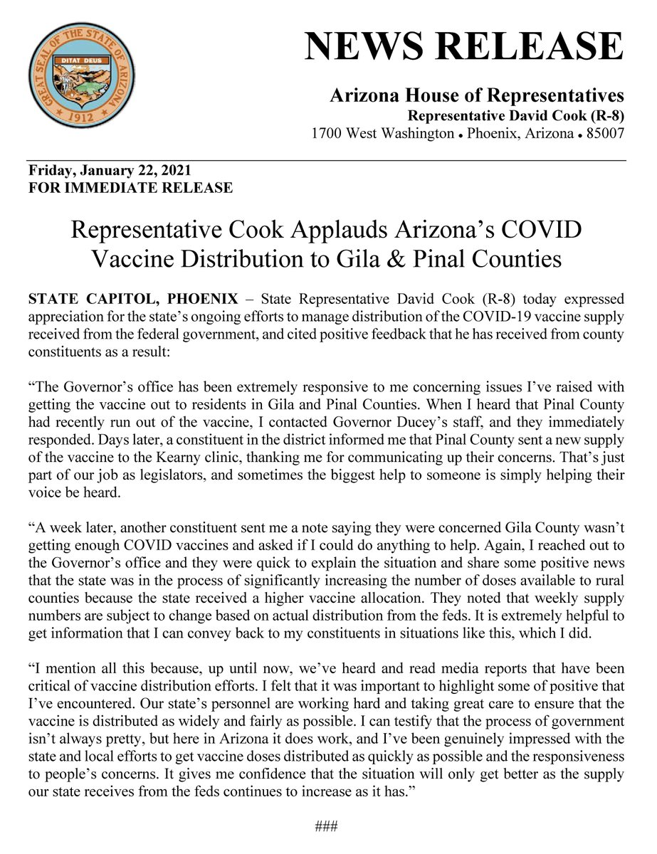 Representative @RepDavidCook Applauds Arizona's COVID Vaccine Distribution to Gila & Pinal Counties.  #azleg