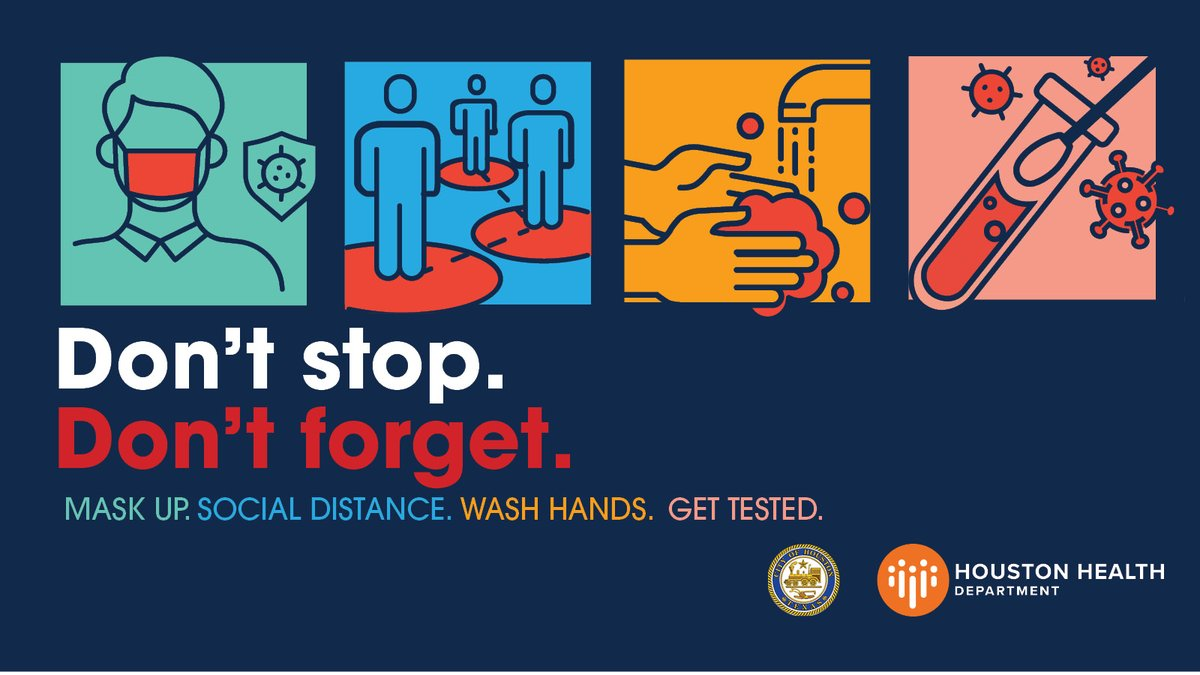Getting tested for #COVID19 at Houston Health Department-affiliated sites is free, fast & safe. Wait times are minimal & labs report results, on average, in 2-4 days. #DontStopDontForget #GetTested  Find a testing site: