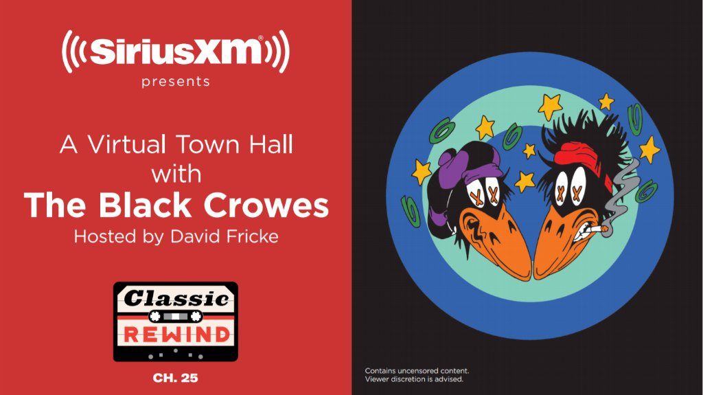 """Want to attend a virtual Town Hall with @theblackcrowes hosted by David Fricke on 1/25? Email rsvp@siriusxm.com, include """"Black Crowes"""" in the subject line, your name/email/phone by 5pm ET on 1/24. First 40 eligible responders could attend."""