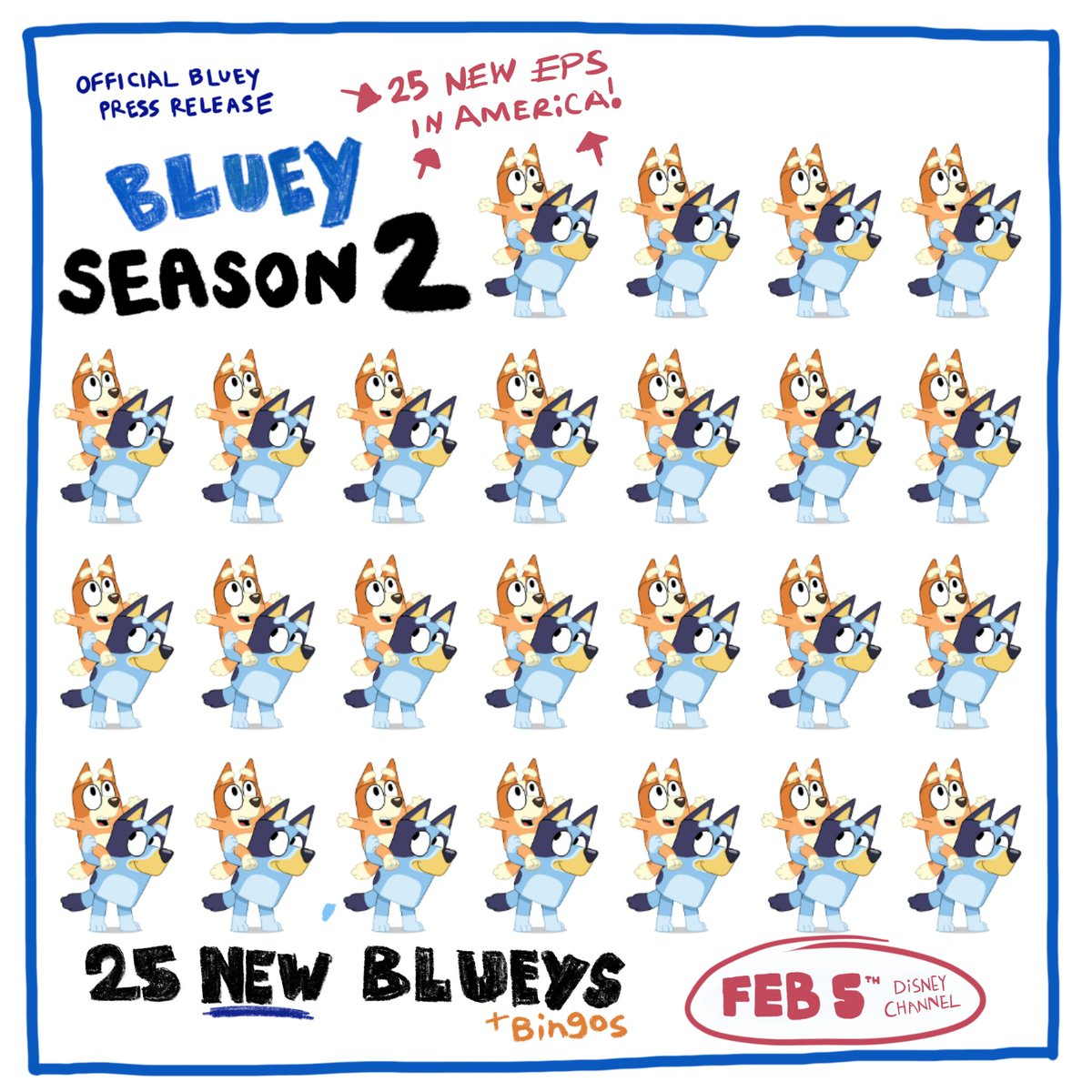 Hey America, get ready for more Bluey 🇺🇸💙  New episodes start February 5th on @DisneyChannel