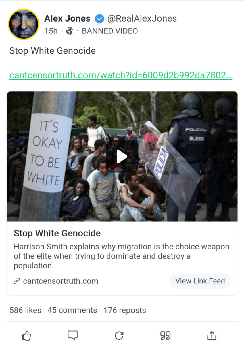 """This is not the first time Infowars has toyed with this racist idea, but wow, Alex Jones and Harrison Smith are really just going for it now.  The """"white genocide"""" myth is the concept that spurred, among other crimes, mass killings in New Zealand and El Paso, Texas. https://t.co/5pMqKZJdMA"""