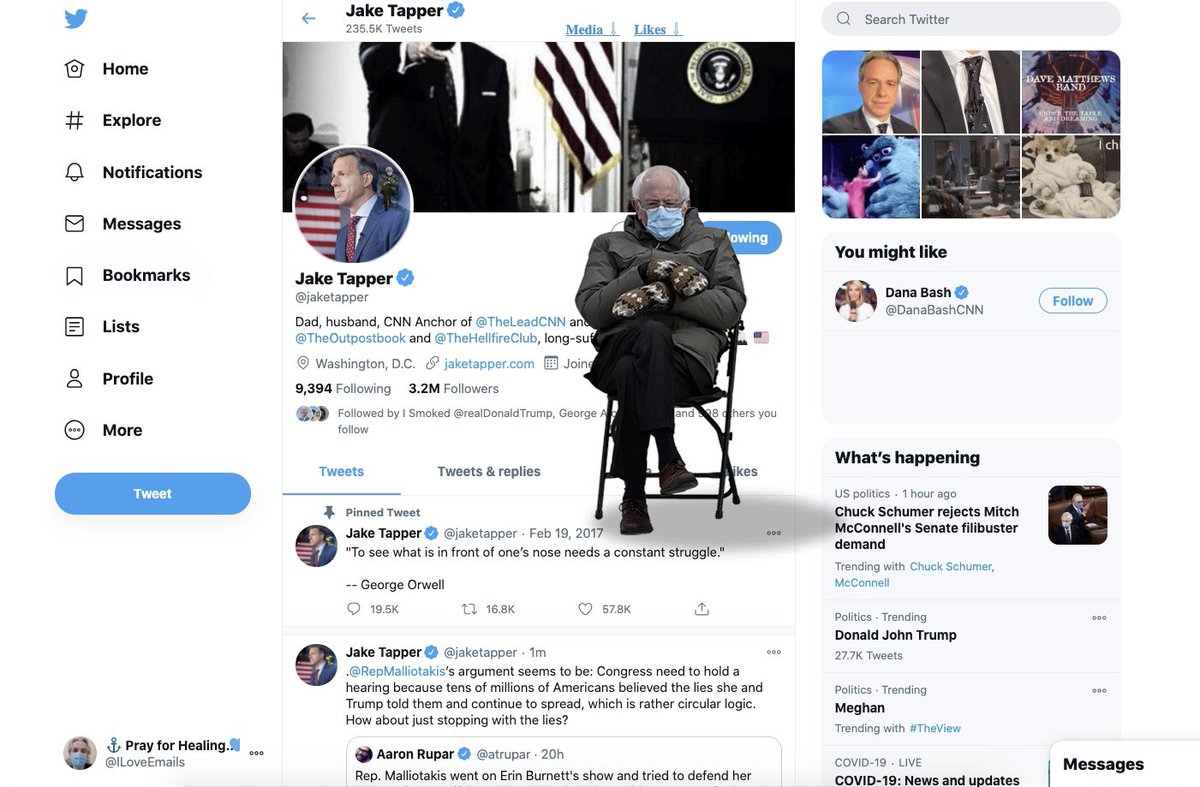 OMG! Bernie in Mittens has literally invaded @jaketapper's Twitter feed!   ... The profile pic!!!  Credit: @ILoveEmails