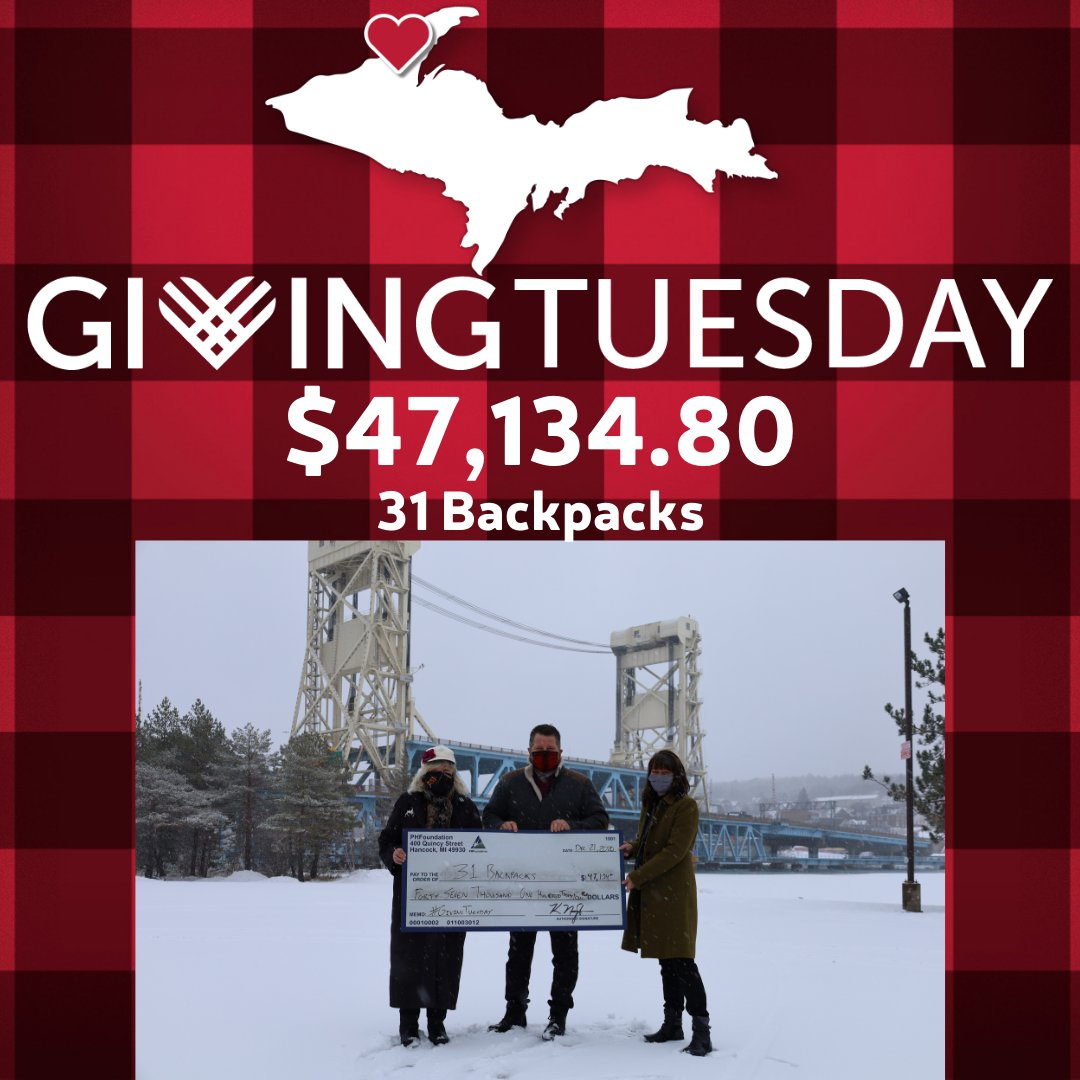 The amazing volunteers at 31 Backpacks stood up and made AMAZING things happen in 2020. Our community came out in support of them during #GivingTuesday as the organization raised nearly $50,000! An incredible show of proof of the concept #CopperCountryStrong!