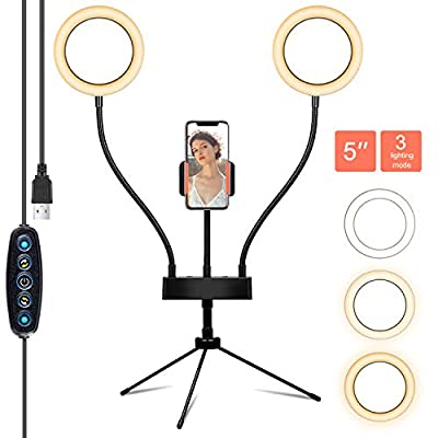 "64% OFF!! 5"" Dual Selfie Ring Light + Tripod/Cell Phone Holder: 3 Modes & 5 Brightness Levels   $27.99     Discount applied at checkout!  #lighting #tiktok #instagram #IGlive #twitch #streaming #selfie #makeup #iphone #youtube #Deals #Amazon #savings #share"