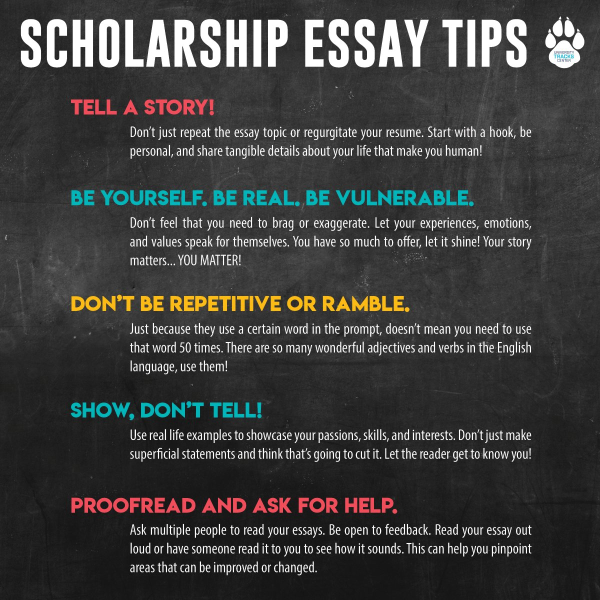 Here are a few tips to consider as you're working on your scholarship essays! #scholarships #d70 #utc #district70utc #d70tracks #pueblo #essay