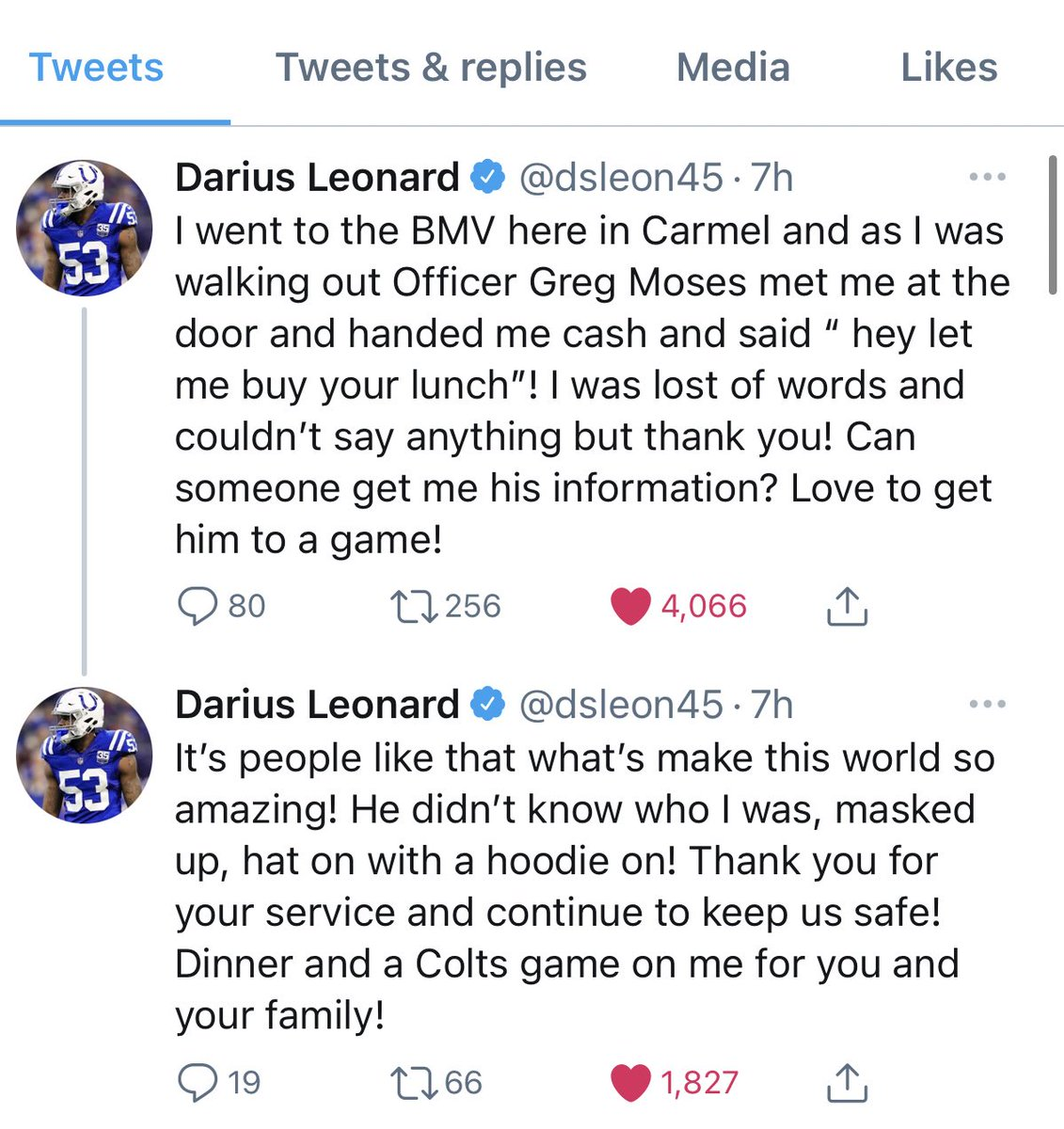 A feel good Friday story:  This morning, Darius Leonard tweeted about an officer in Carmel offering to buy him lunch—not knowing it was the #Colts LB.  Leonard then went to Cracker Barrel & paid it forward—paying for everyone's bill.  You can't find many better than @dsleon45. https://t.co/StiiZtPuKf