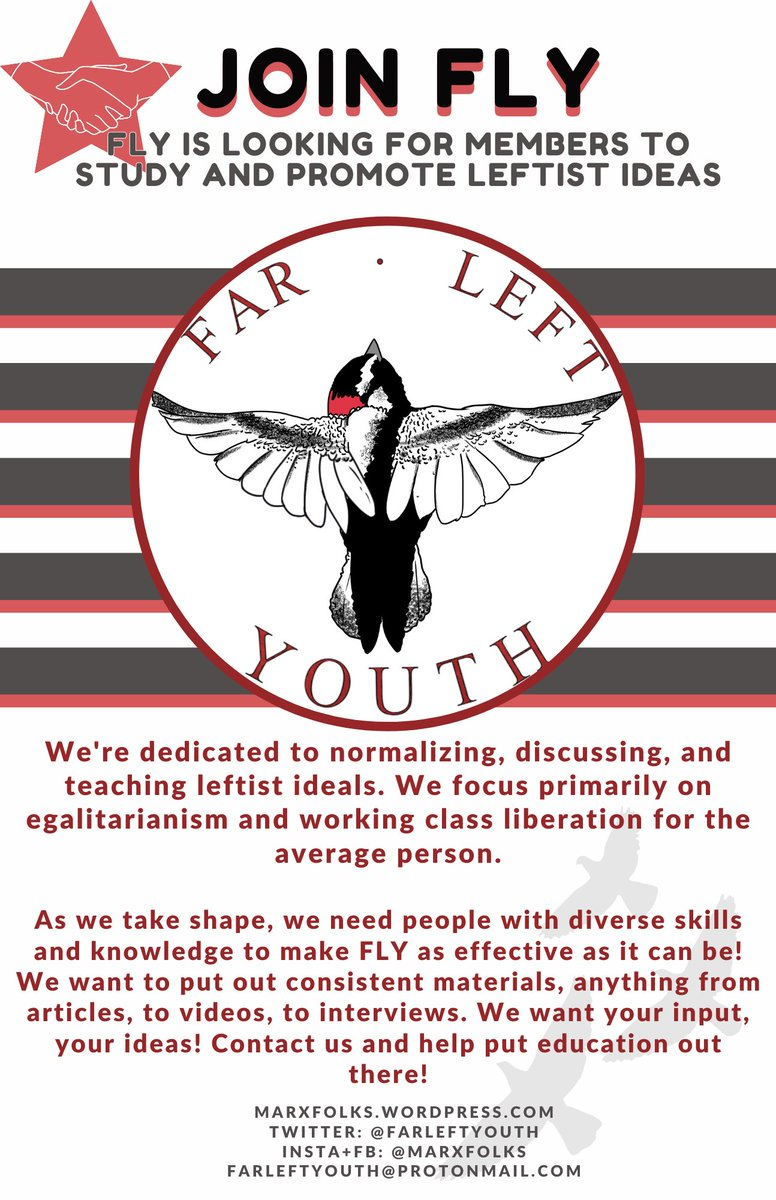 With the end of the month coming up, FLY is getting closer to ending recruitment until we open up for general membership later this year. Reach out to be involved in our mission!